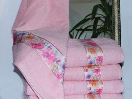 Полотенце махровое Весна розовое цветы 50х90