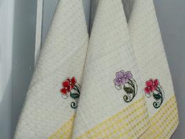 Набор полотенец Цветок/желт. клетка (6 шт)