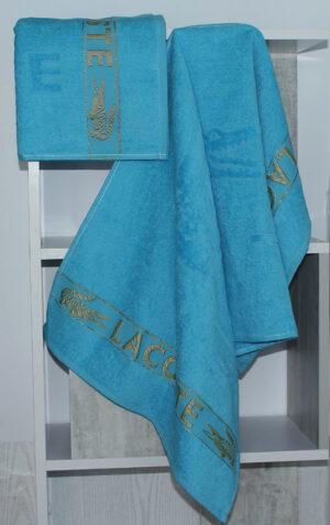 Полотенце махровое Lacoste голубое