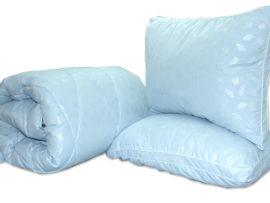 "Одеяло лебяжий пух ""Голубое"" 1.5-сп. + 2 подушки 50х70"