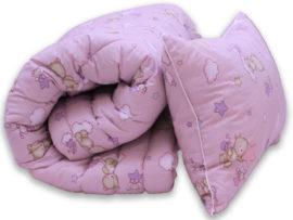 "Одеяло лебяжий пух ""Мишки розов."" 1.5-сп. + 1 подушка 40х60"