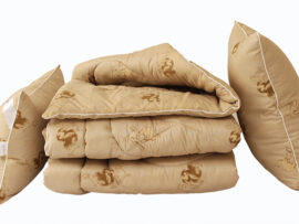 Одеяло лебяжий пух Camel 1.5-сп. + 2 подушки 50х70