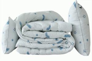 Одеяло лебяжий пух Перо 1.5-сп. + 2 подушки 70х70