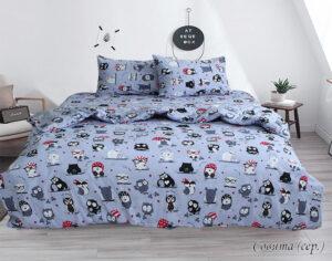 Комплект постельного белья Совята (серый)
